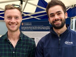 PhD researchers Joe Martlew (left) and George Crane enjoyed in-depth conversations with farmers