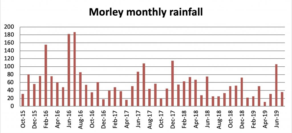 Chart showing monthly rainfall at Morley Farms, Norfolk